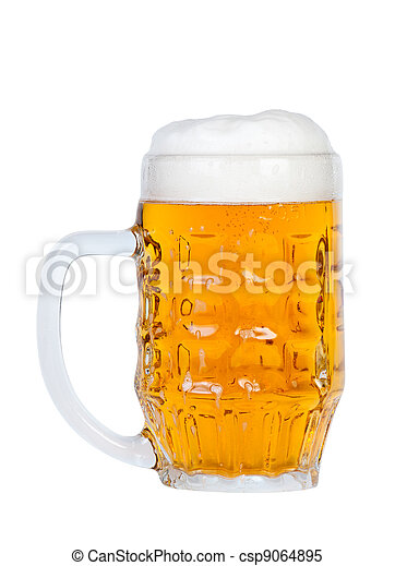 Beer in a glass. - csp9064895
