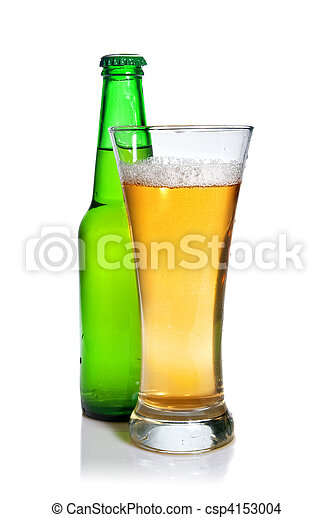 Beer in bottle and glass isolated on white - csp4153004