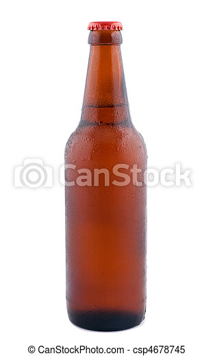 Beer in bottle isolated on white background. - csp4678745