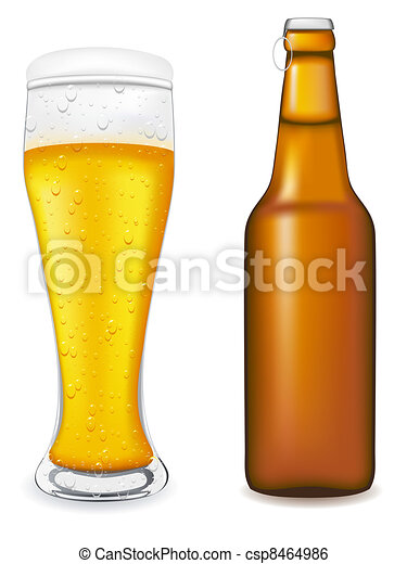 beer in glass and bottle vector ill - csp8464986