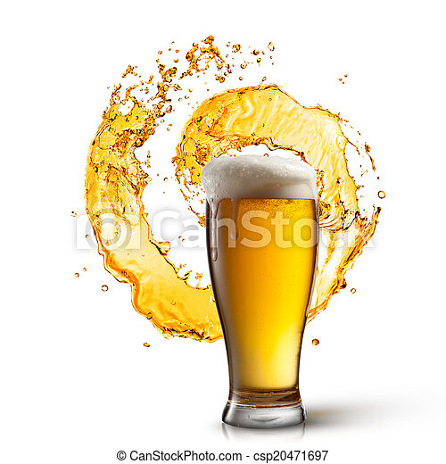 Beer in glass with splash isolated on white - csp20471697