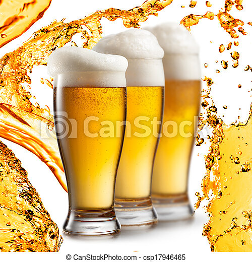 Beer in glasses isolated on white background - csp17946465