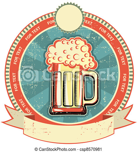 Beer label on old paper texture. Vintage style - csp8570981