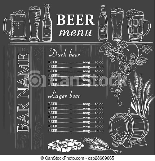 Beer Menu Hand Drawn On Chalkboard Excellent Vector  Clip Art