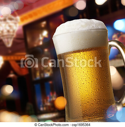 beer on bar counter - csp1695364