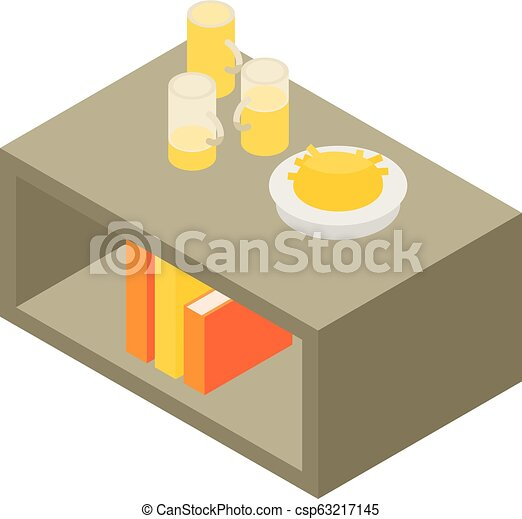 Beer on living room table icon, isometric style - csp63217145