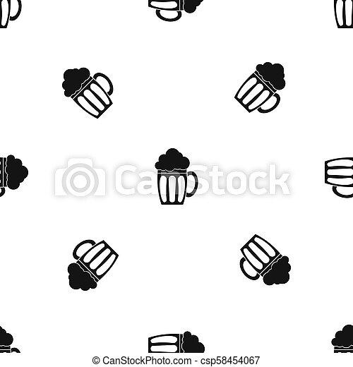 Beer pattern seamless black - csp58454067
