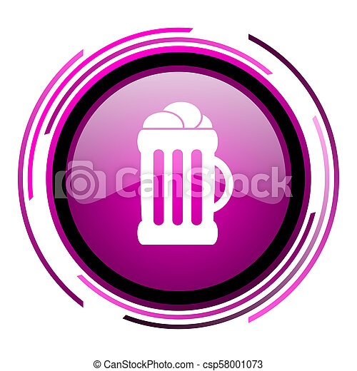 Beer pink glossy web icon isolated on white background - csp58001073