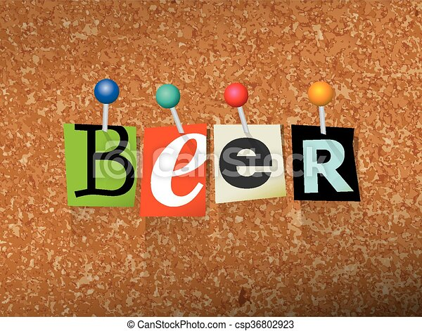 Beer Pinned Paper Concept Illustration - csp36802923