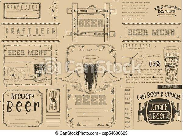 Beer Drawn Menu Design Craft Beer Placemat For Restaurant Bar Pub