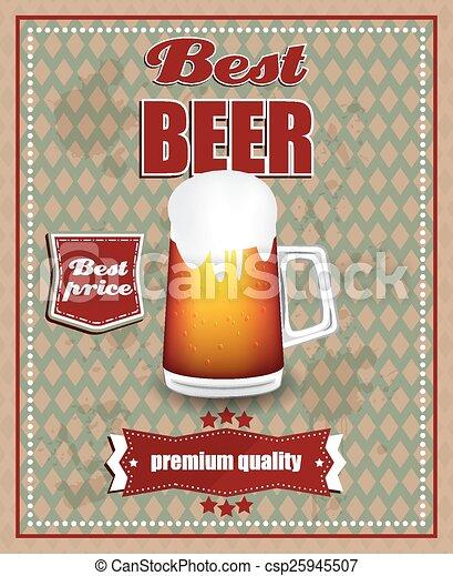 Beer Poster In Retro Design