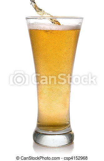 Beer pouring into glass isolated on white - csp4152968