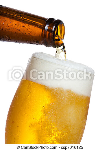 Beer pouring into glass - csp7016125