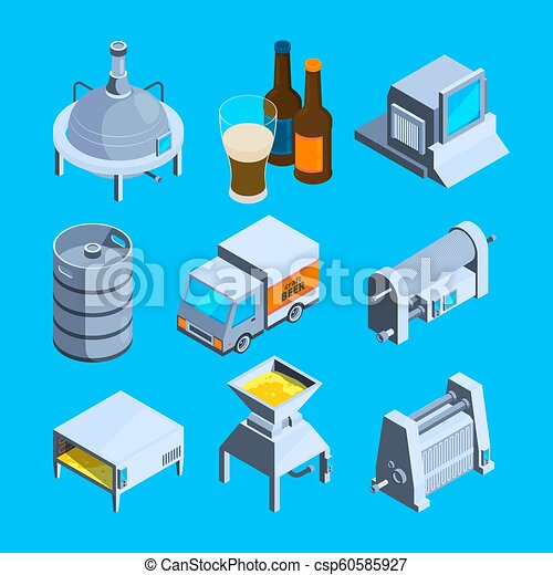 Beer production isometric. Vector tools of brewery - csp60585927