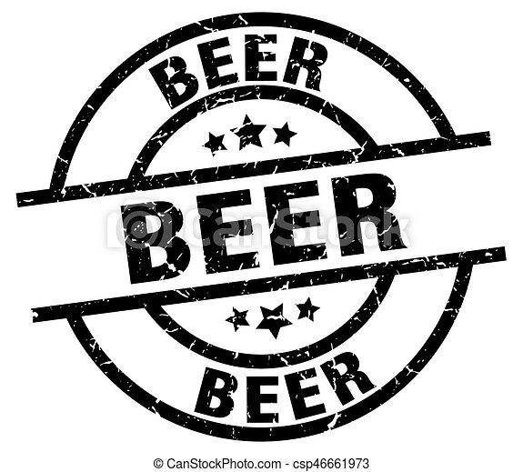 beer round grunge black stamp - csp46661973