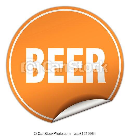 beer round orange sticker isolated on white - csp31219964