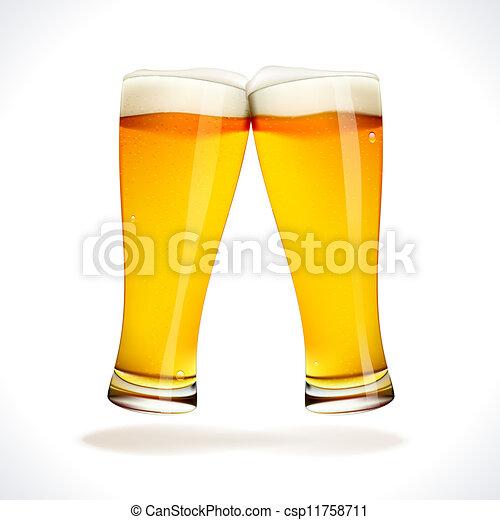 Beer splashing, two glasses - csp11758711