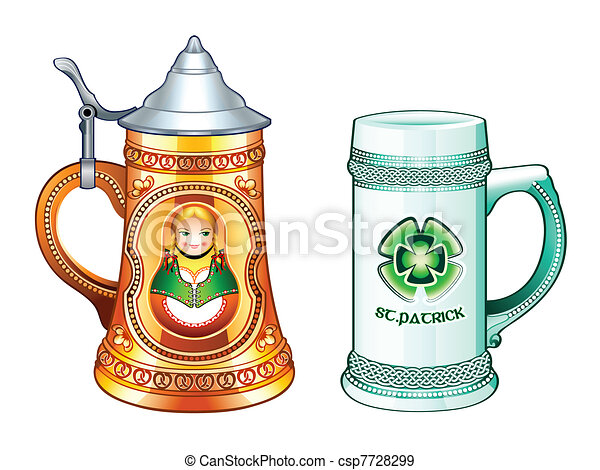 beer steins decorated beer steins for oktoberfest and st patrick s day rh canstockphoto com beer stein clipart black and white beer mug clipart vector