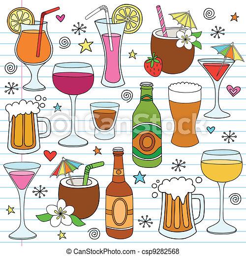 Beer Wine Drinks Vector Doodle Set - csp9282568