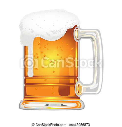beer with bladder in glass mug on white - csp13056873