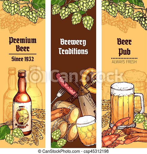 beer with snacks banner for pub brewery design beer with snacks