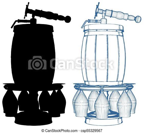 Beer Wooden Barrel Vector 01.eps - csp55329567