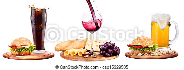 beer,wine,cola and food - csp15329505