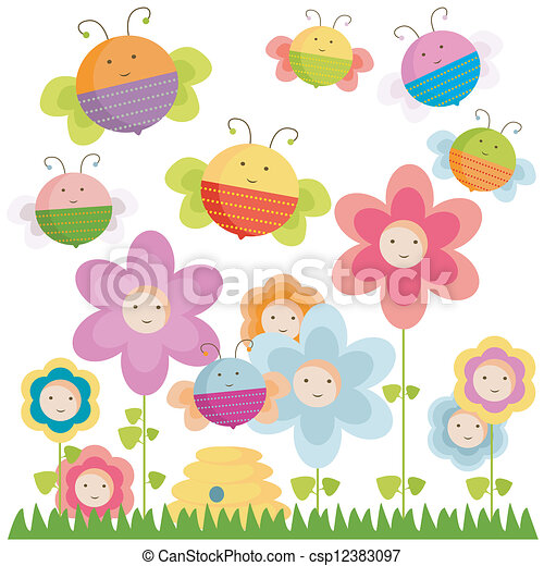 bees and flowers - csp12383097