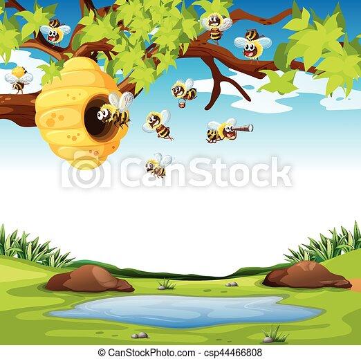 Bees Flying In The Garden   Csp44466808