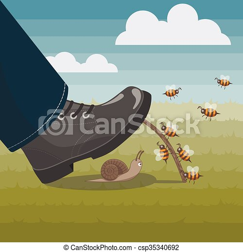 Bees Help Unlucky Snail To Stay Alive Bees Help To Snail To Stay Alive Assistance Of Insects
