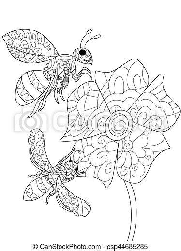 Bees on a flower Coloring book vector for adults