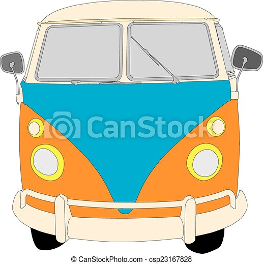 Beetle Camper Van Camper Van Front View Vector Illustration