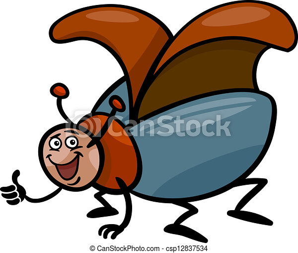beetle insect cartoon illustration - csp12837534