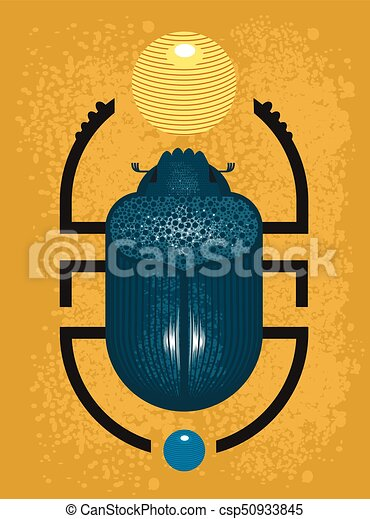 Beetle Scarab A Symbol Of Ancient Egypt Geometric Style On Yelow
