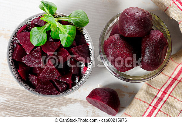 beets in glass bowl with salad - csp60215976