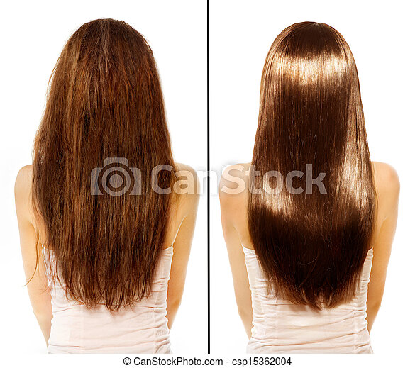 Before and After Damaged Hair Treatment - csp15362004