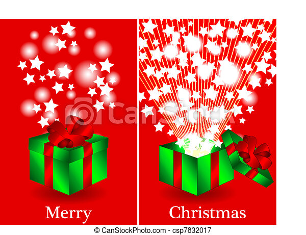 fun christmas card with a green gift box with red ribbon closed and then opened with sunburts and stars coming out merry christmas in text - Christmas Card Closings