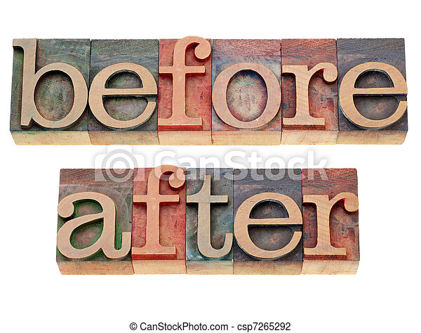 Before and after words. Before and after - isolated words in vintage ...