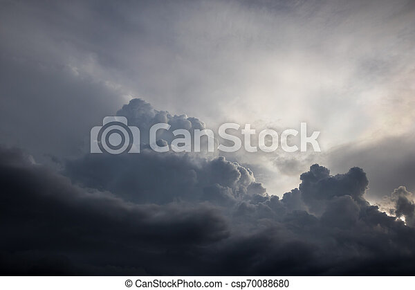 Before heavy rain storm. On the sky is covered all over by the clouds. - csp70088680