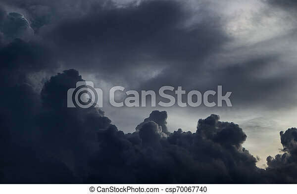 Before heavy rain storm. On the sky is covered all over by the clouds. - csp70067740