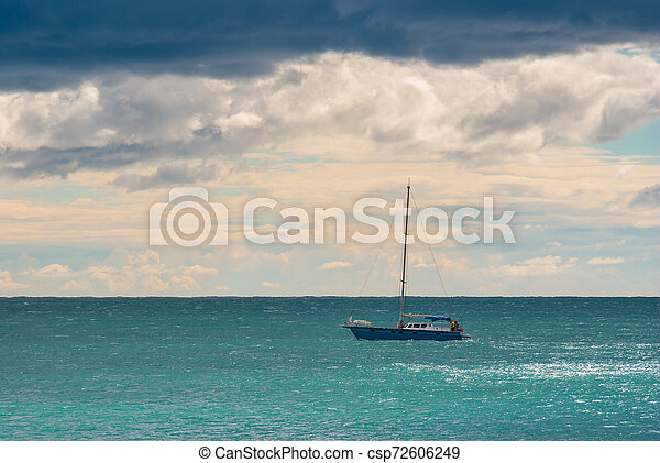 Before the storm marine with lonely boat on a Black Sea - csp72606249