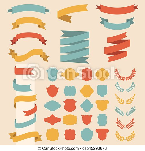 Beg vector set of ribbons, laurels, wreaths and labels in flat style. - csp45293678