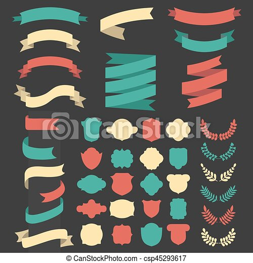 Beg vector set of ribbons, laurels, wreaths and labels in flat style. - csp45293617