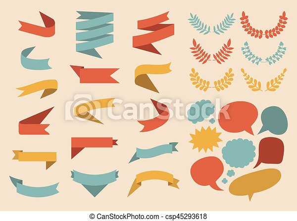 Beg vector set of ribbons, laurels, wreaths and speech bubbles in flat style. - csp45293618