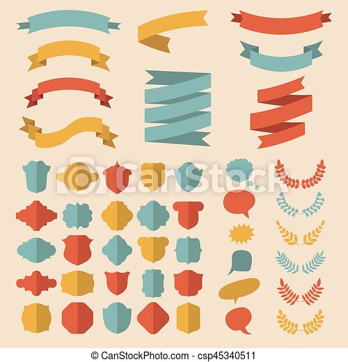 Beg vector set of ribbons, laurels, wreaths, labels and speech bubbles in flat style. - csp45340511