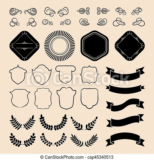 Beg vector set of ribbons, laurels, wreaths, labels and speech bubbles in flat style. - csp45340513