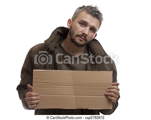 Beggar holding carton - csp5782872
