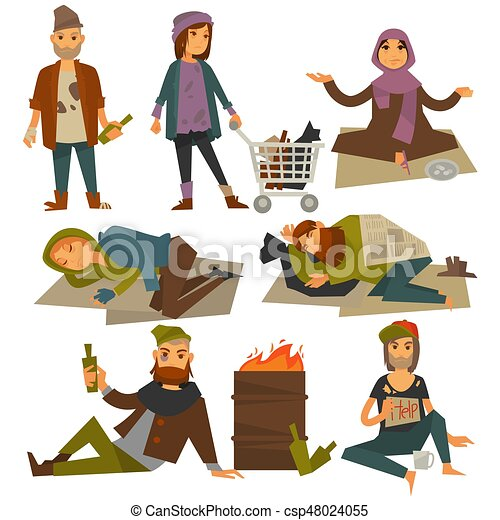 Beggars and bum or vagrant homeless people vector flat isolated icons - csp48024055