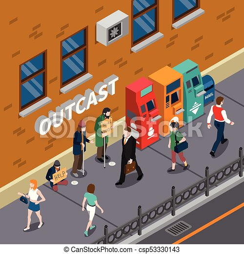 Beggars At Street Isometric Illustration - csp53330143