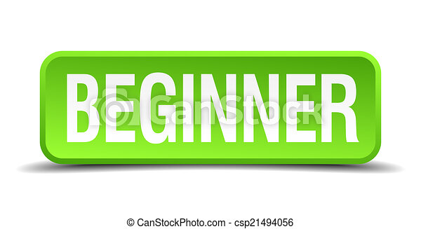 beginner green 3d realistic square isolated button - csp21494056